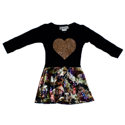 Dress Camo Velvet with Gold Heart