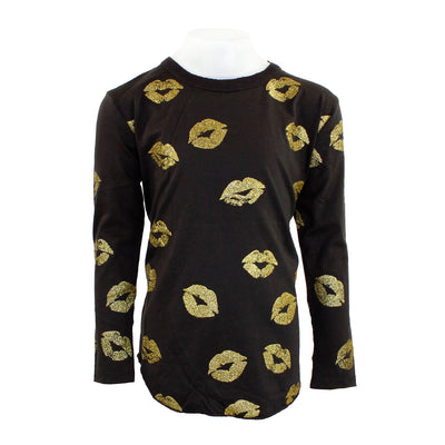Long Sleeve Top Gold Lips Allover