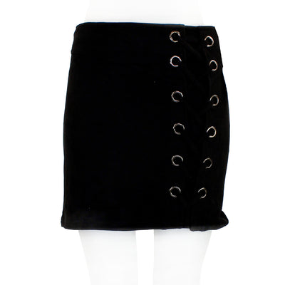 Lace Up Grommet Suede Mini Skirt