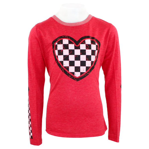 Long Sleeve Hi Lo with Black and White Checker Heart