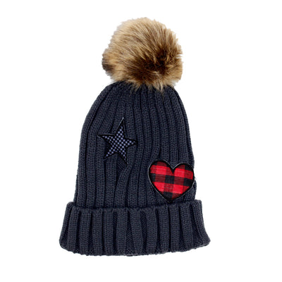 Beanie Pom Pom Plaid Heart and Star