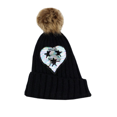 Beanie with Pom Pom and Magic Sequin Heart with Stars