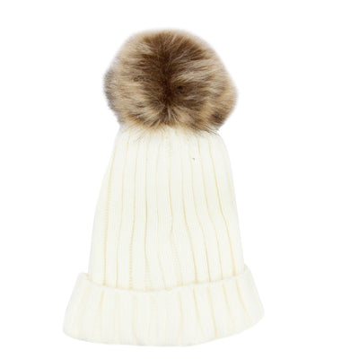 Beanie with Fur Pom Pom - Fits Sizes 7-14