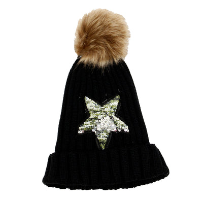 Beanie with Pom Pom and Magic Sequin Camo Star