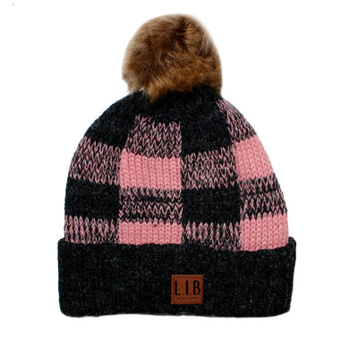 Plaid Beanie with Pom - Fits Sizes 7-14