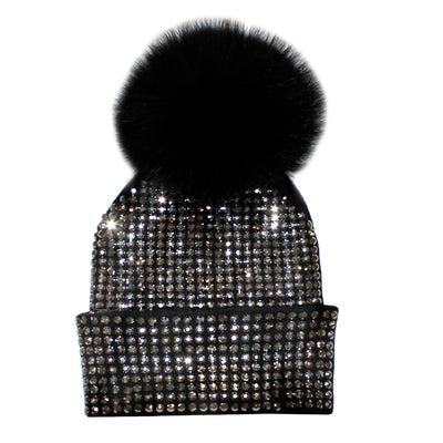 Studded Crystal Beanie with Black Pom - Fits Junior Sizes