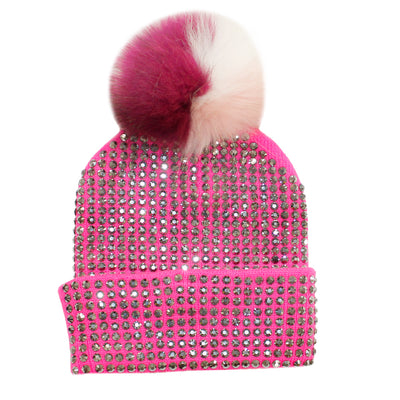 Pink Crystal Beanie with Fuschia Pink White Pom - Fits Sizes 7-14