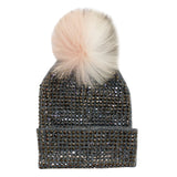 Grey Crystal Hat with Peach White Grey Pom - Fits Junior Sizes