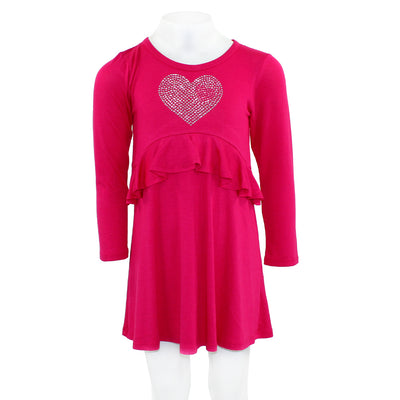 Long Sleeve Ruffle Middle Dress with Heart Silver