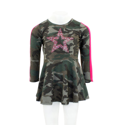 Pink Stripe Camo Dress with Star