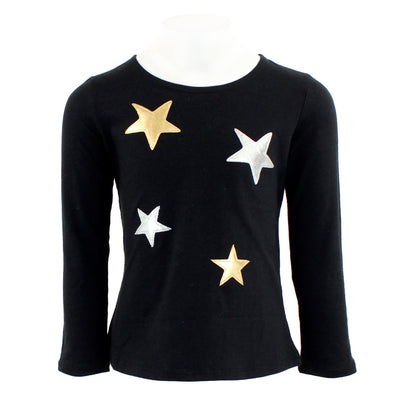 Long Sleeve Top with Silver and Gold Stars