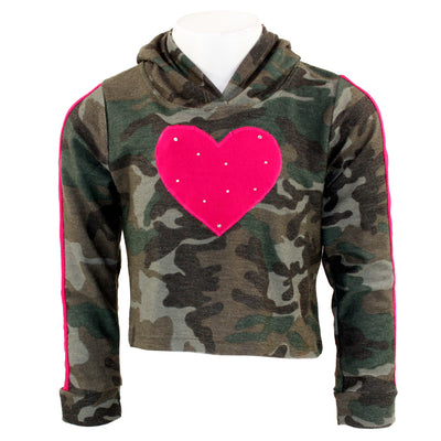 Pink Striped Sleeve Camo Hoody with Heart