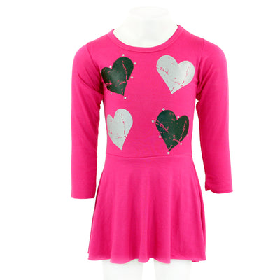 Long Sleeve Swing Dress with Hearts