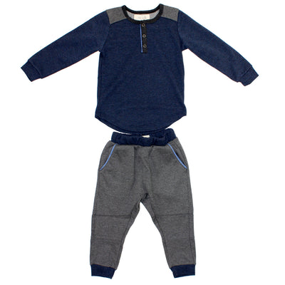 Two Piece Set Henley Tee Sweatpant