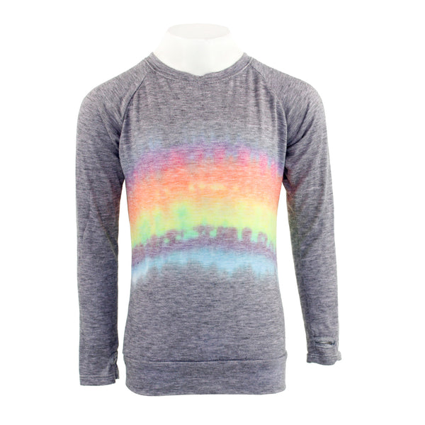 Long Sleeve Banded Bottom with Rainbow Tie Dye
