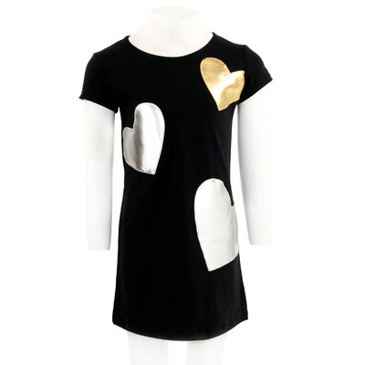 Short Sleeve Aline Pointe Dress with Gold and Silver Hearts