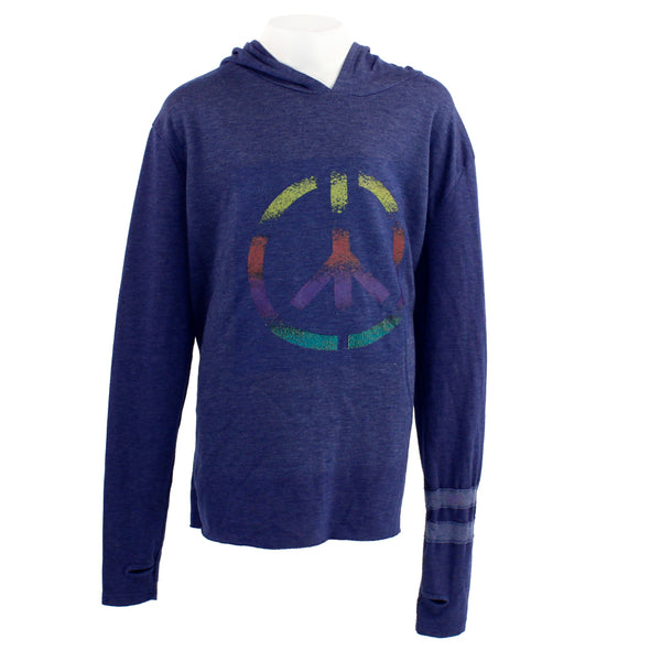 Long Sleeve Hoody with Tie Dye Peace Sign
