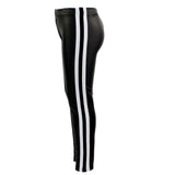 Pleather Legging with Back and White Sports Stripe