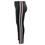 Pleather Legging with Pink/Silver and Black Stripe