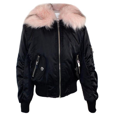 Bomber Jacket with Pink Fur Collar