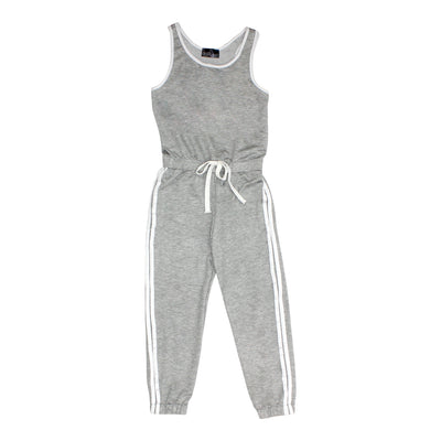 Jumpsuit with White Trim and Stripe