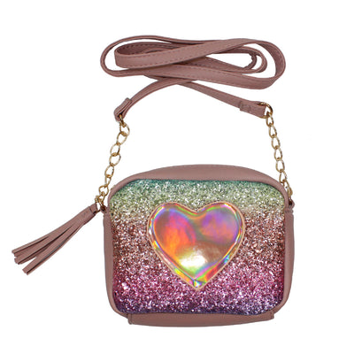 Glitter Hologram Heart Crossbody Bag