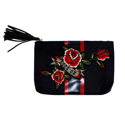 Nylon Stripe Clutch with Rock On Patch