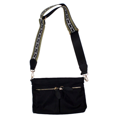 Nylon Crossbody with Gold Studs