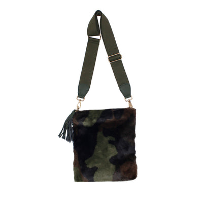 Military Camo Fur Crossbody with Tassel