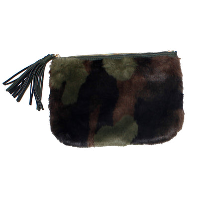 Military Camo Fur Clutch with Tassel
