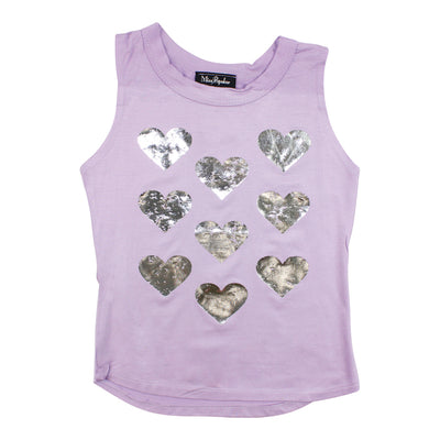 Curved Hem Tank with Scattered Hearts