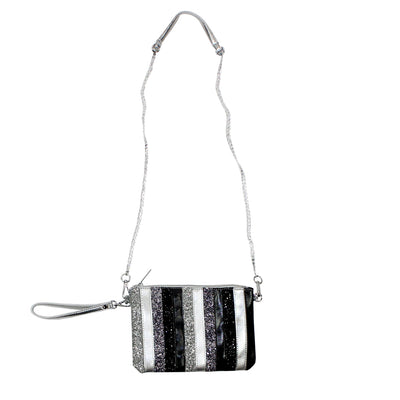 Stripe Metallic Glitter Bag Clutch