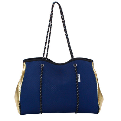 Navy Neoprene with Gold Sides Tote