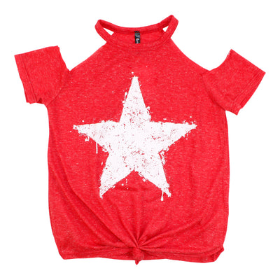 Short Sleeve Cold Shoulder with Knot Star