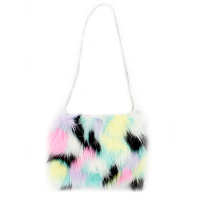 Magic Sequin Fur Bag with Evil Eye