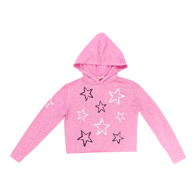 Crop Hoodie with All Over Stars
