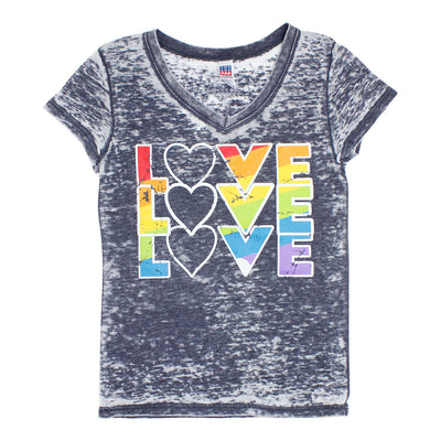 V-Neck Burnout Tee with Love X3