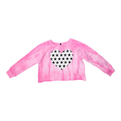 Long Sleeve French Terry Crop Top with Heart Star