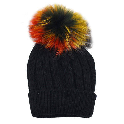 Ribbed Knit Cuff Hat with Raccoon Pom