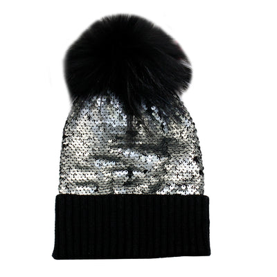 Sequin Beanie with Pom - Fits Sizes 7-14