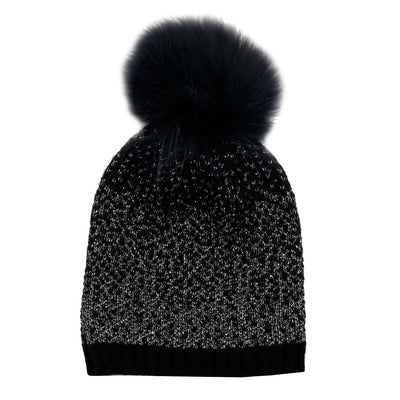 Ombre Lurex Knit Hat with Raccoon Pom - Fits Junior Sizes
