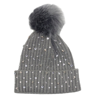 Gry Rhinestone Hat with Pom - Fits Sizes 7-14 and Juniors
