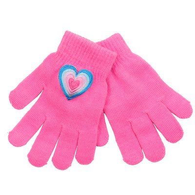 Layered Heart Patch Gloves - Fits Sizes 7-14