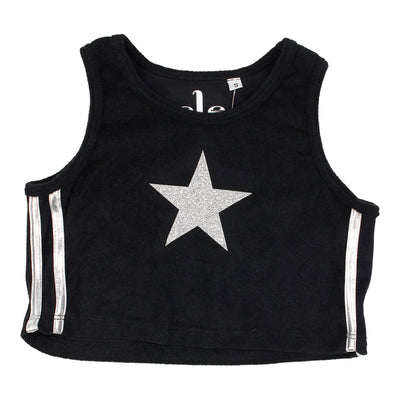Crop Tank with Stripe Silver Star