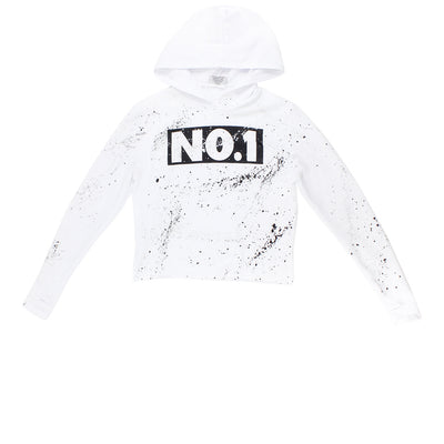 Sweatshirt With Number One With Black And Silver Splatter