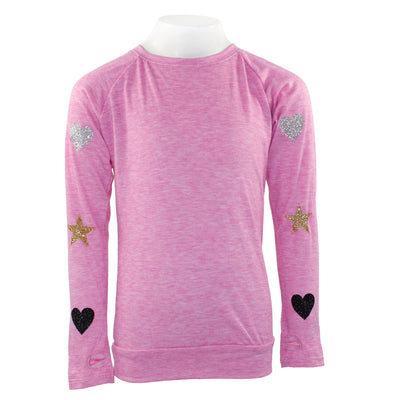 Long Sleeve Banded Bottom with Glitter Heart Down Arm