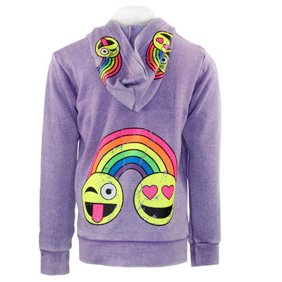 Zip Hoody with Rainbow Smiley Faces
