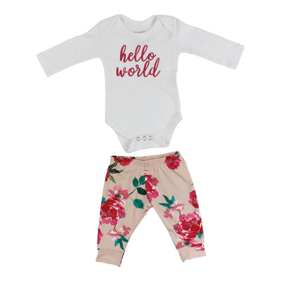 2 Piece Set Onesie with Pant Floral