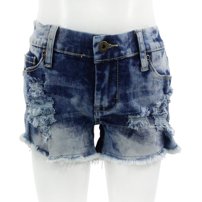 Denim Short with Destruction Bleach Out