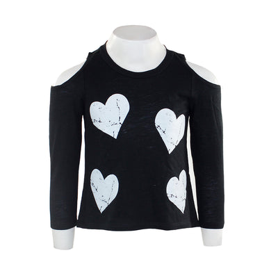 Long Sleeve Cold Shoulder Top with White Hearts
